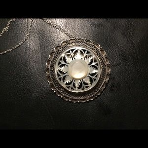 1950s Sterling Silver Mother of Pearl Pendant